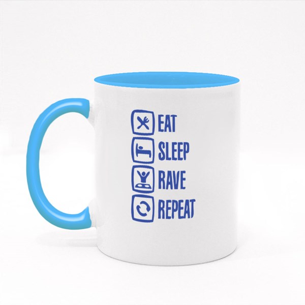 Eat Sleep Rave Repeat Colour Mugs