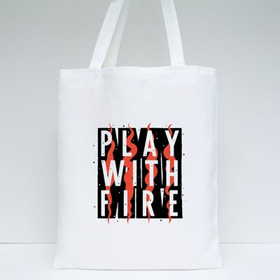 Play With Fire Grunge Tote Bags