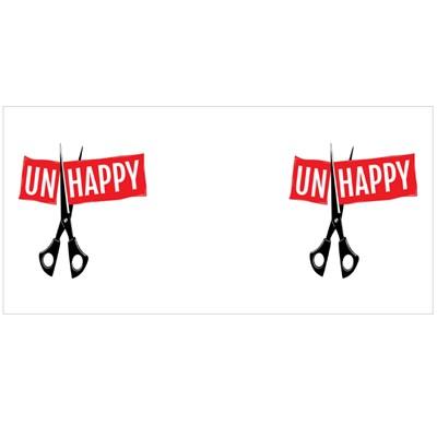 Scissors Cutting the Word Unhappy Magic Mugs