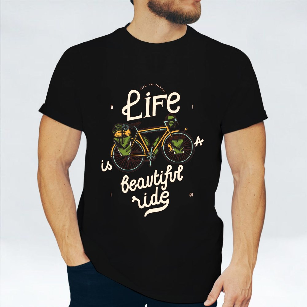 Life Is a Beautiful Ride - Bicycle Travel Quote Print T-Shirts
