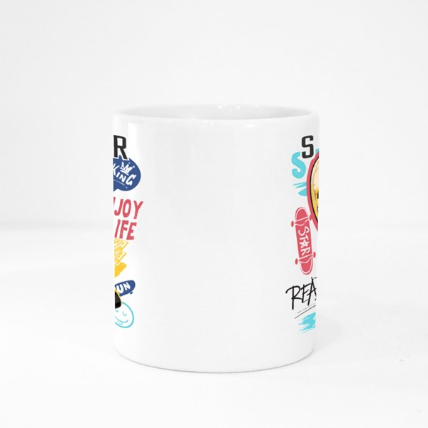 Skater Typography Slogan Colour Mugs