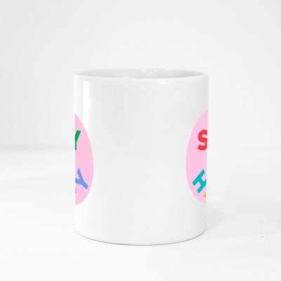 Stay Happy Quote With Smile Illustration for Self Care Magic Mugs