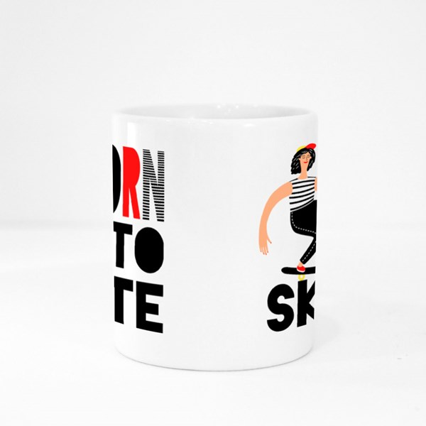 Born to Skate, Female Skateboarder Colour Mugs