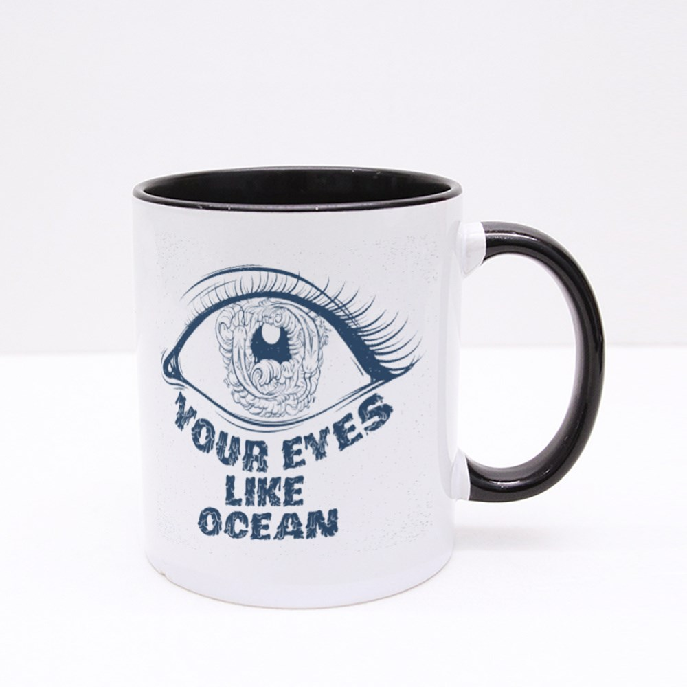 Your Eyes Like Ocean With Sketch of Eyes With Fish and Waves in Pupil Colour Mugs