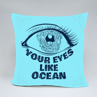 Your Eyes Like Ocean With Sketch of Eyes With Fish and Waves in Pupil Throw Pillows