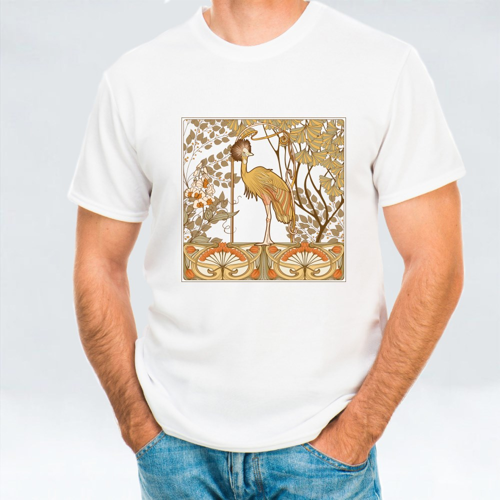 Poster, Background With Decorative Flowers and Bird in Art T-Shirts