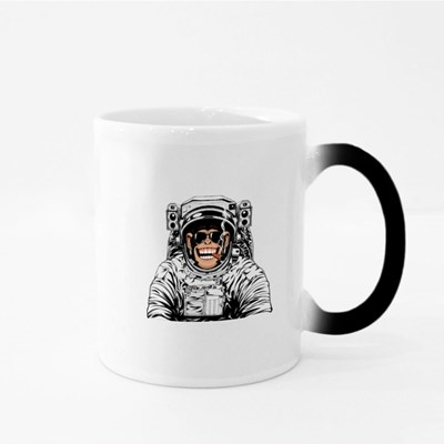Funny Chimpanzee in an Astronaut's Suit Magic Mugs