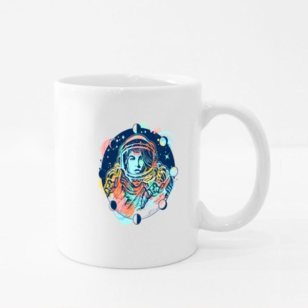 Woman Astronaut Color Tattoo Art. Mountains on Mars Colour Mugs