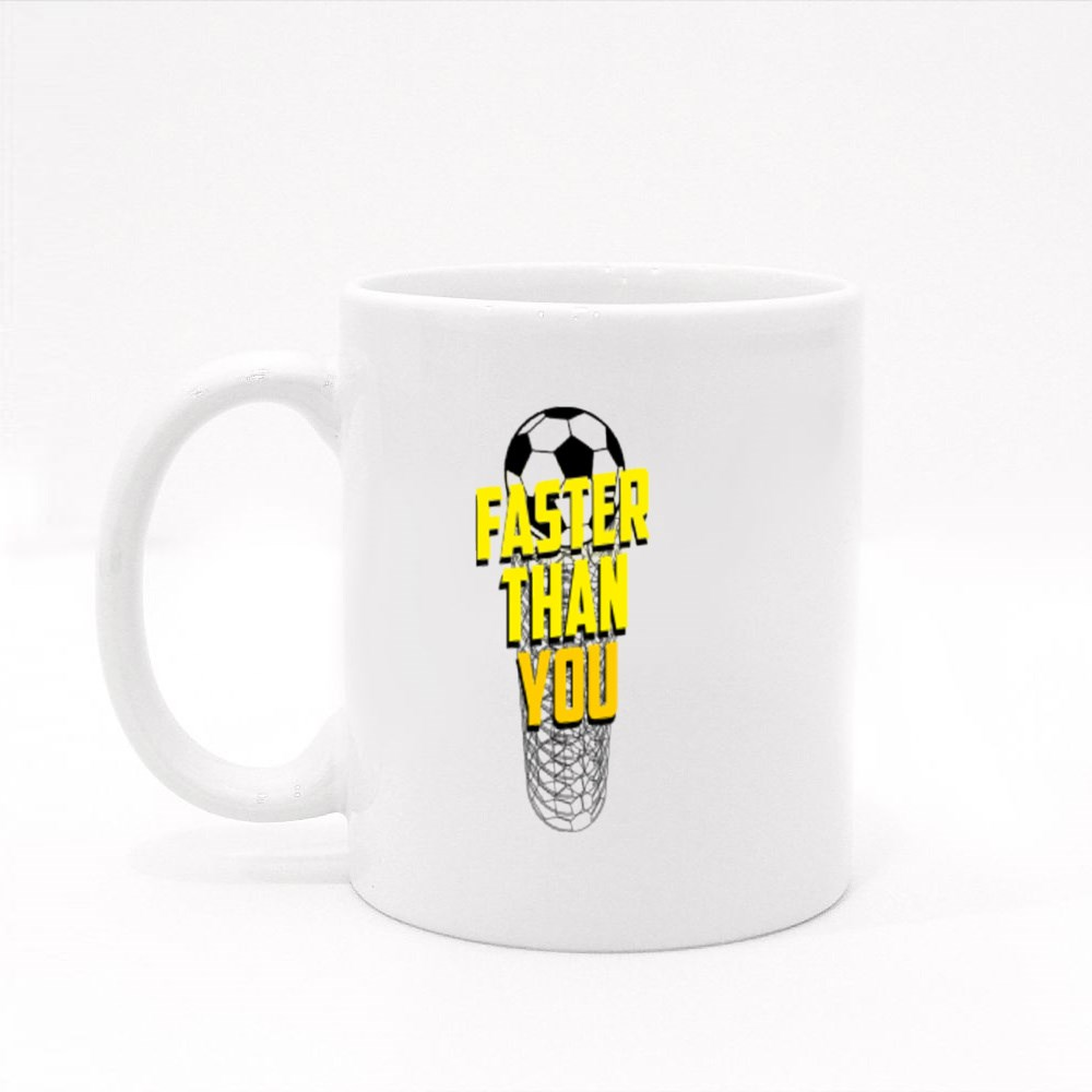 Football Sport, Faster Than You Colour Mugs