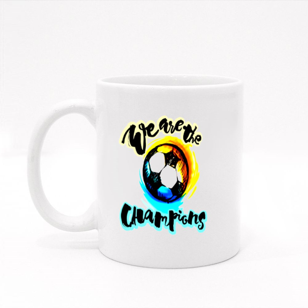 Soccer Cup Champion Lettering Style Motivation Poster Colour Mugs