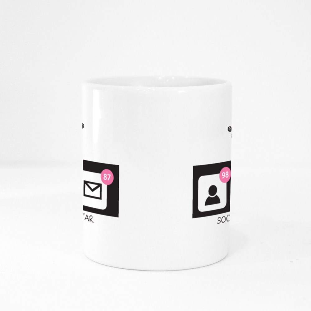 Social Media Star Typography and Crown Colour Mugs