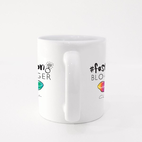 Fashion Blogger Concept With Hashtag and Lips Drawing Colour Mugs