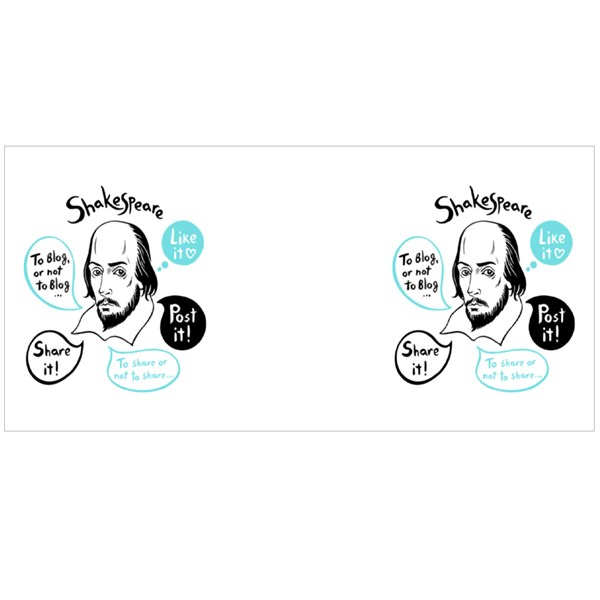 Shakespeare Portrait With Speech Bubbles and Social Media Colour Mugs