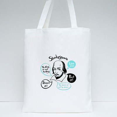 Shakespeare Portrait With Speech Bubbles and Social Media Tote Bags