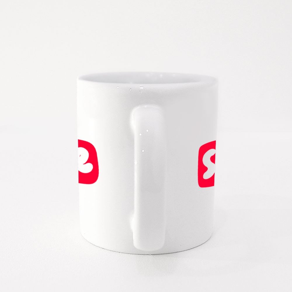 Share Red Button. Sticker for Social Media Content. Colour Mugs