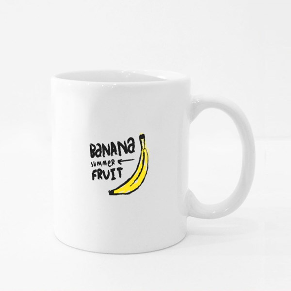Banana Hand Drawn Illustration With Text Colour Mugs