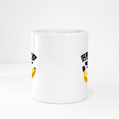 Banana Shake Inscription and a Banana on a Dark Blue Background Magic Mugs