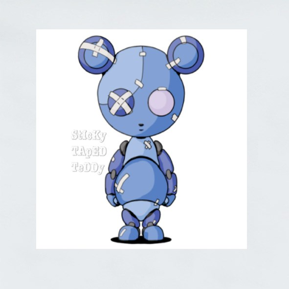 Sticky Taped Teddy Blue Stickers (Square)