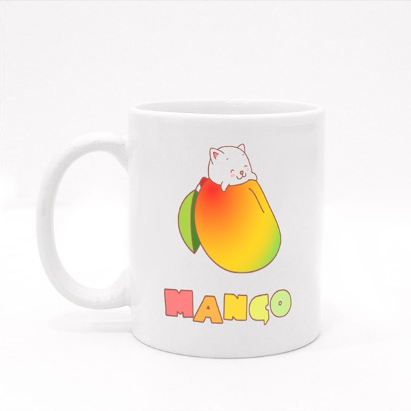 Kawaii Kitten Inside Mango Colour Mugs