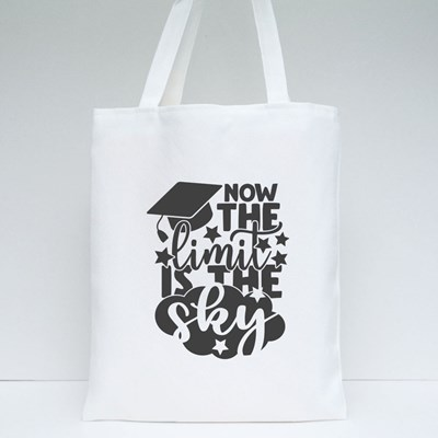 Now the Limit Is the Sky   Graduation Quote Tote Bags