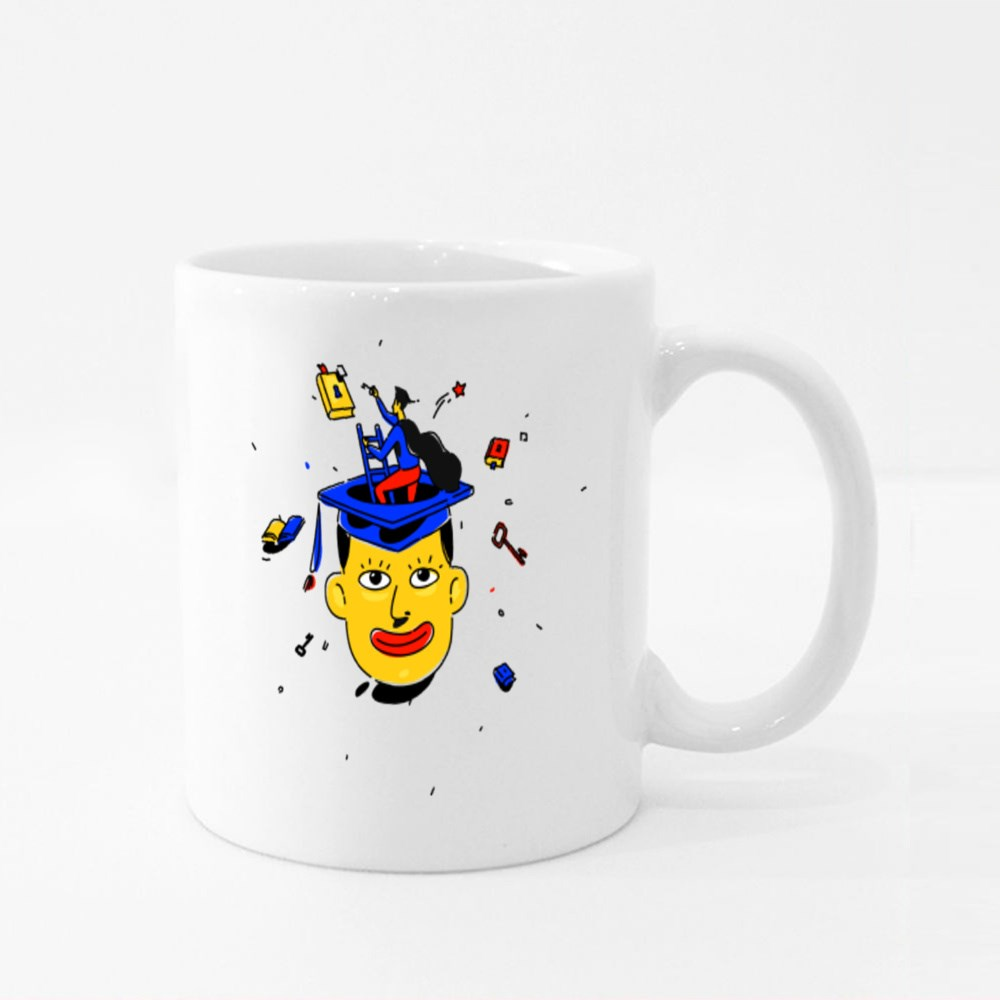 Illustration of a Student in a Square Cap Colour Mugs