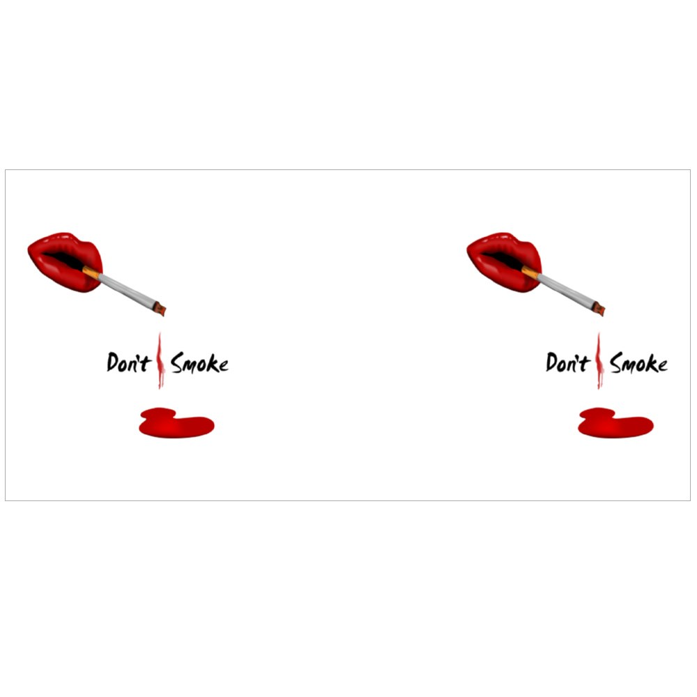 Red Lips With Cigarette on Black Background for No Smoking Day Concept Colour Mugs