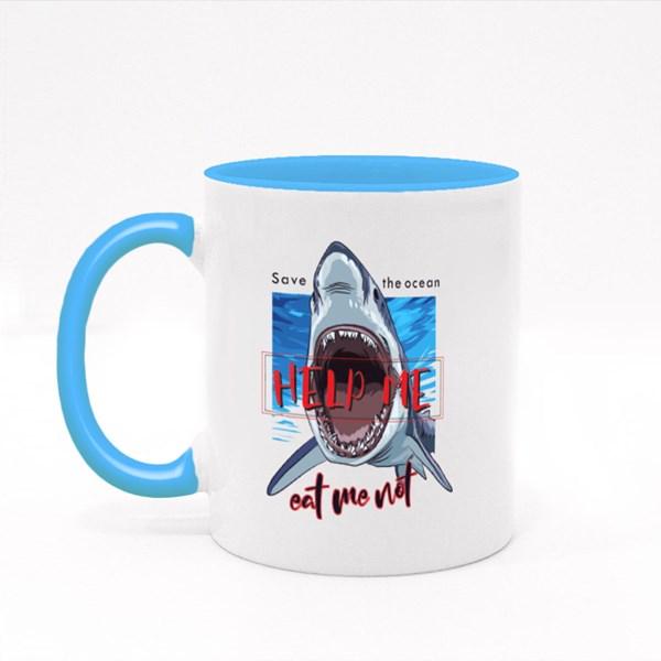 Typography Slogan With Shark Illustration Colour Mugs