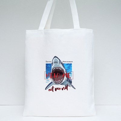 Typography Slogan With Shark Illustration Tote Bags