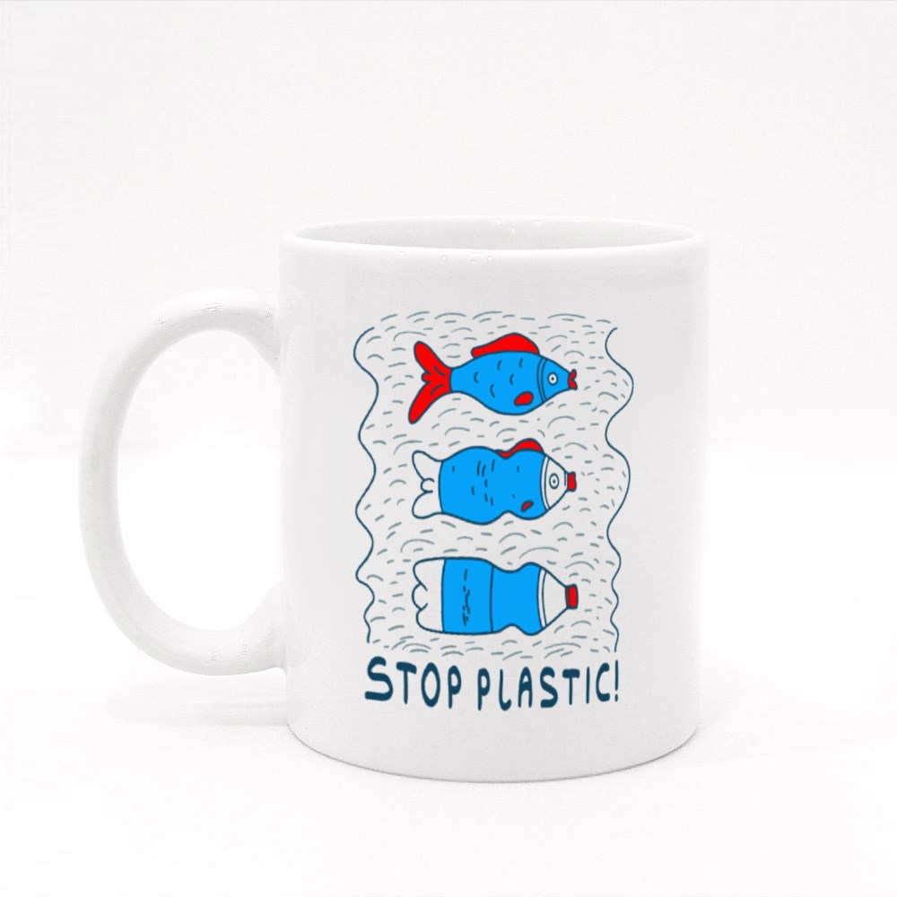 Influence of Pollution With the Slogan Stop Plastic Colour Mugs