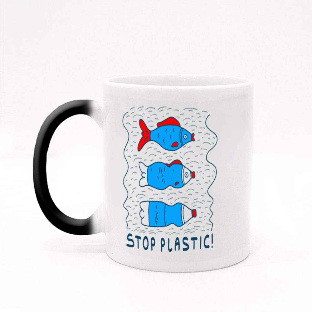 Influence of Pollution With the Slogan Stop Plastic Magic Mugs