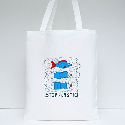 Influence of Pollution With the Slogan Stop Plastic Tote Bags