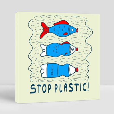 Influence of Pollution With the Slogan Stop Plastic Canvas (Square)