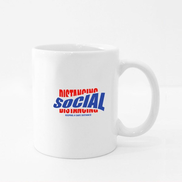 Social Distancing Typography Colour Mugs
