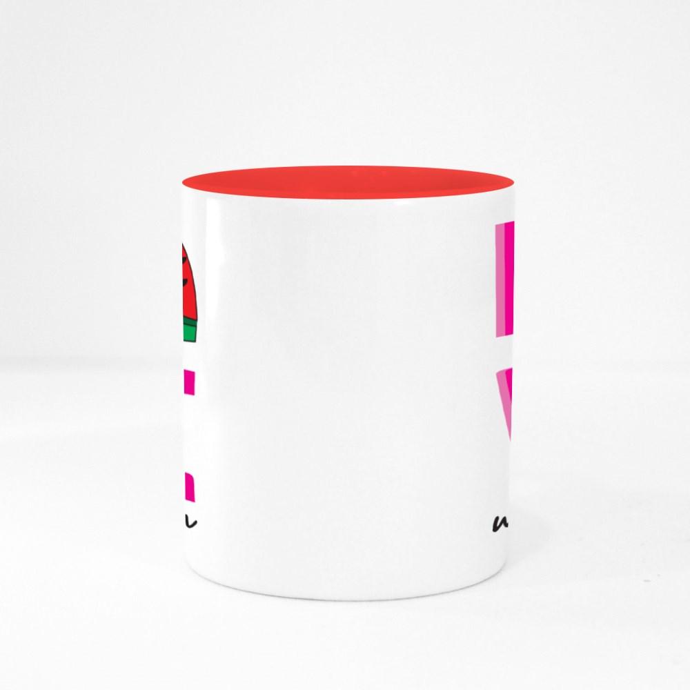 Love Slogan With Watermelon Colour Mugs