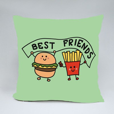 Hamburger and French-Fries Best Friend Throw Pillows