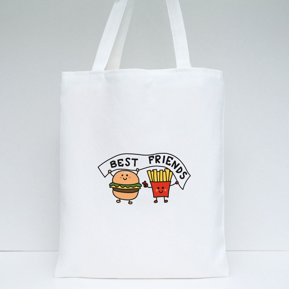 Hamburger and French-Fries Best Friend Tote Bags