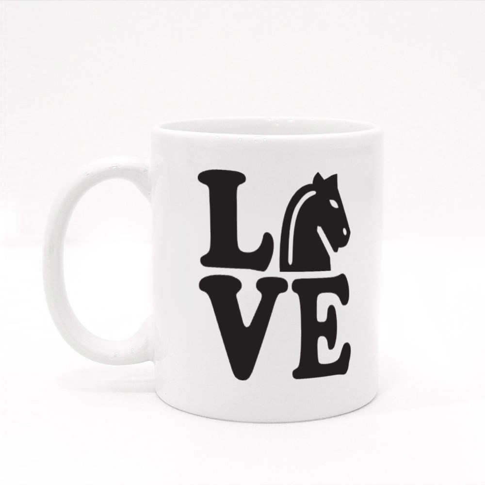 Love With Chess Horse. Colour Mugs
