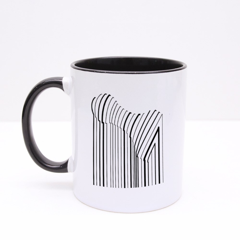 Black and White Pop Art Geometric Pattern With Chess Colour Mugs