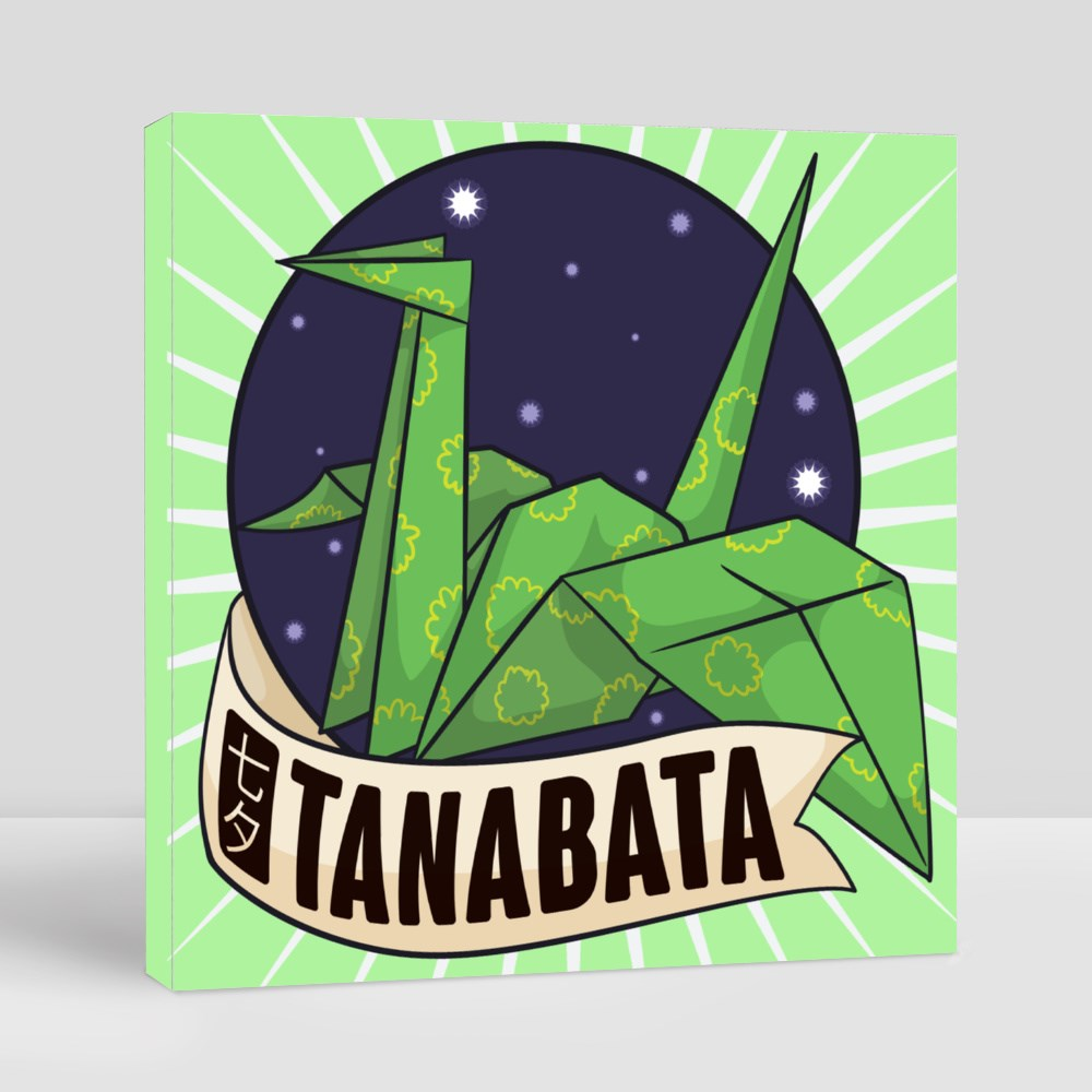 Greeting Label for Tanabata Festival Canvas (Square)