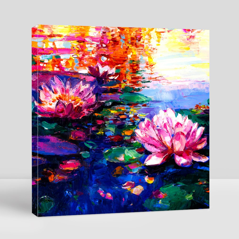 Oil Painting of Lilies in the Water. Modern Art Canvas (Square)