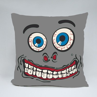 Silly Face Tshirt Graphic - Green Throw Pillows