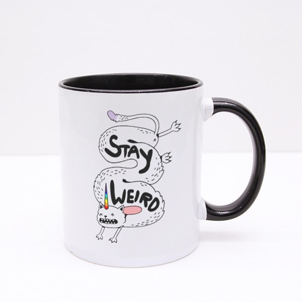 Simple Cute Crazy Long White Cat With a Unicorn Rainbow Horn Colour Mugs