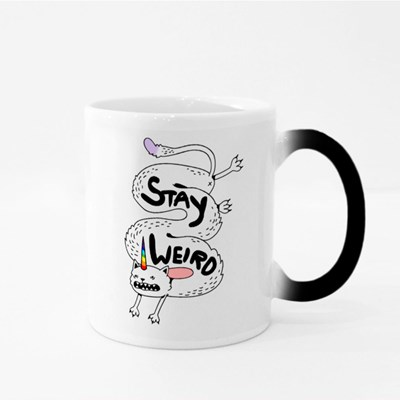 Simple Cute Crazy Long White Cat With a Unicorn Rainbow Horn Magic Mugs