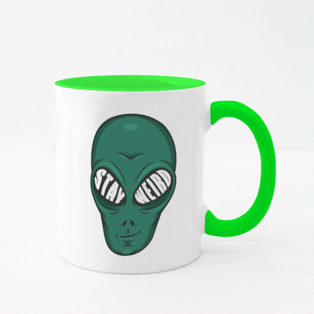 Stay Weird. Unique and Trendy Alien or Mockup. Colour Mugs