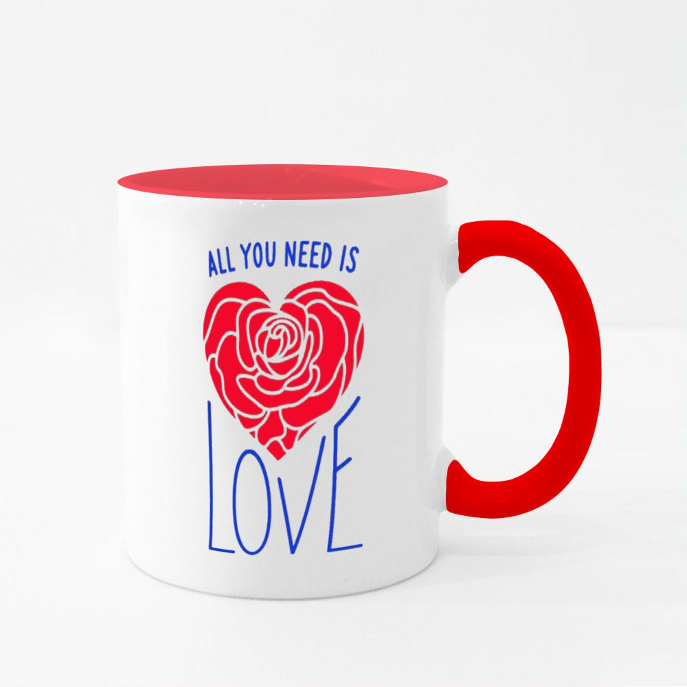All You Need Is Love Hand Drawn Lettering Colour Mugs