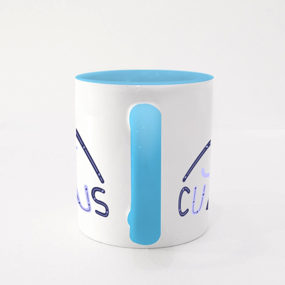 Just Curious Lettering Quote. Modern Hand Drawn Typography With Stars Colour Mugs