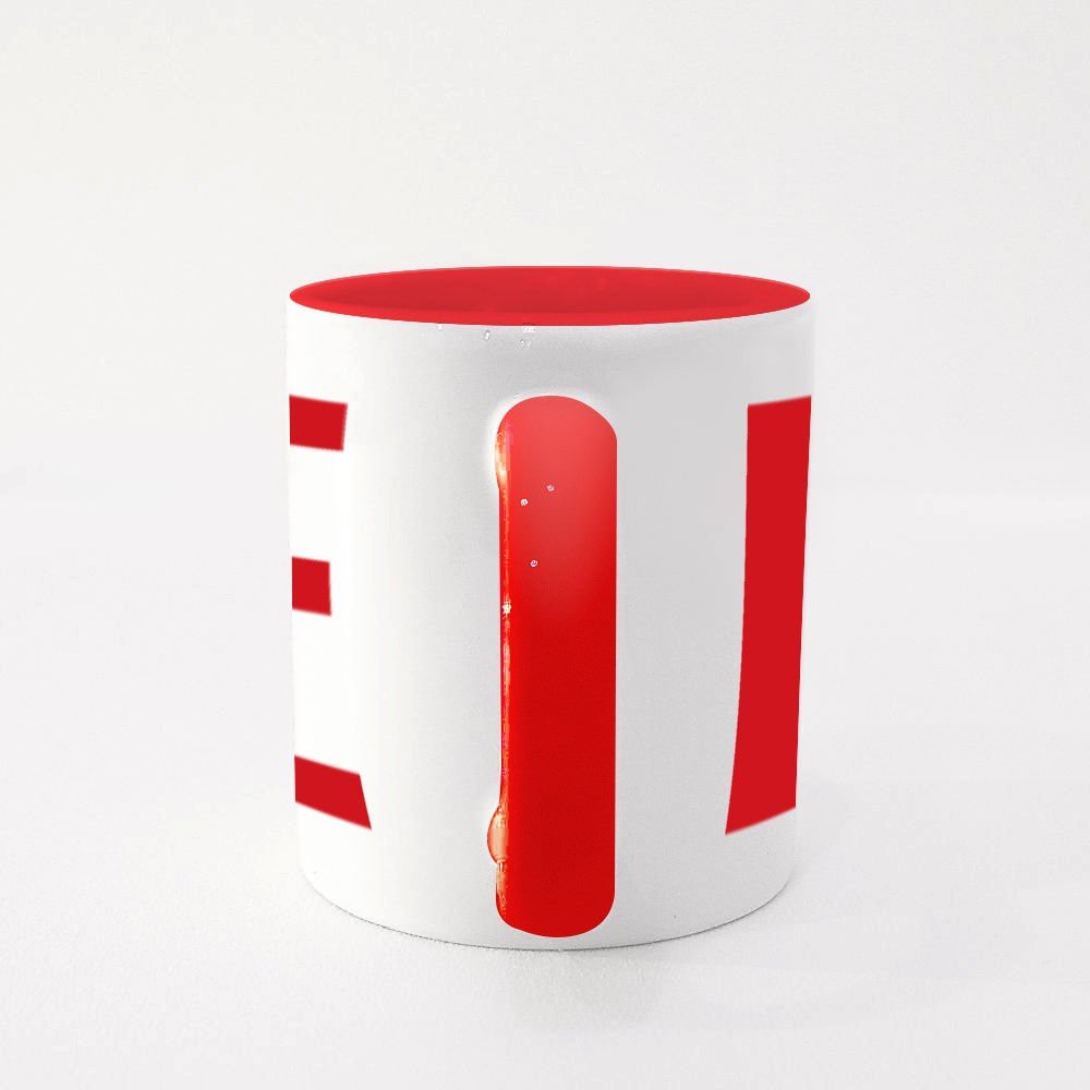 Safety Pin and Red Doodle Heart Colour Mugs