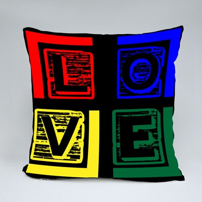 Love Colorful Typography,T Shirt Template Throw Pillows