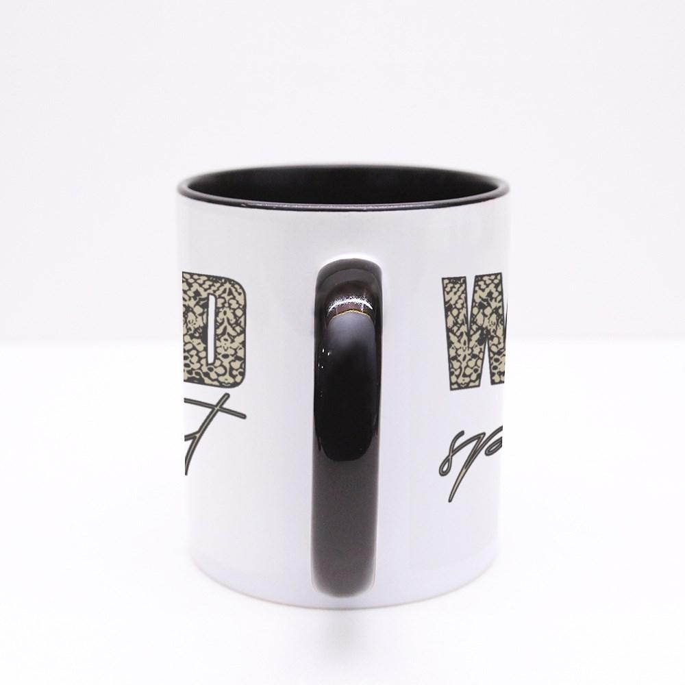 Decorative Wild Spirit Text With Snake Skin Pattern Colour Mugs