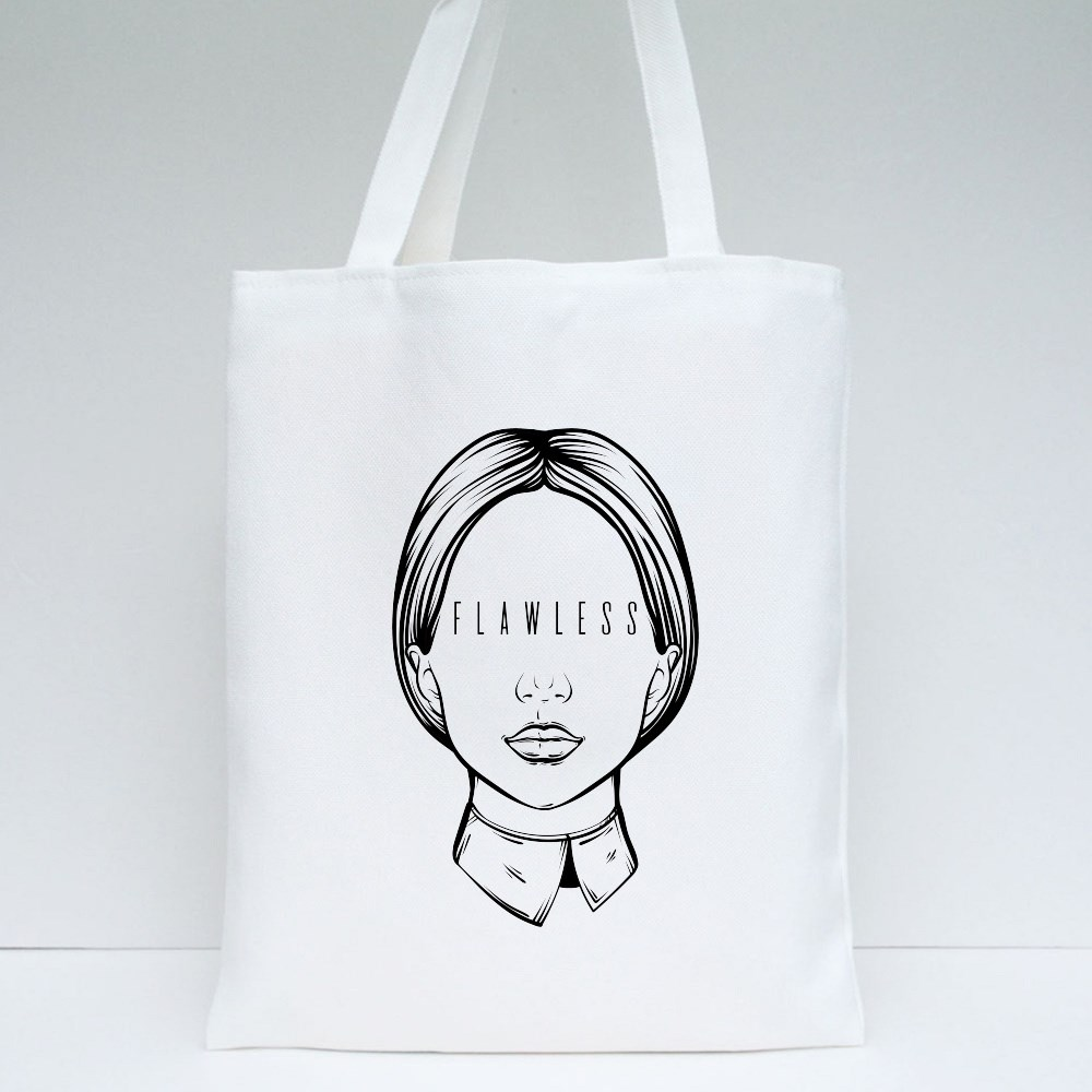 Portrait of Woman With Inscription Tote Bags